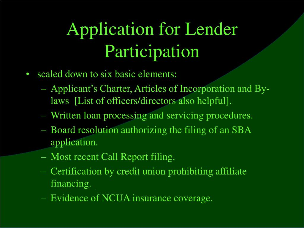 Application for Lender Participation