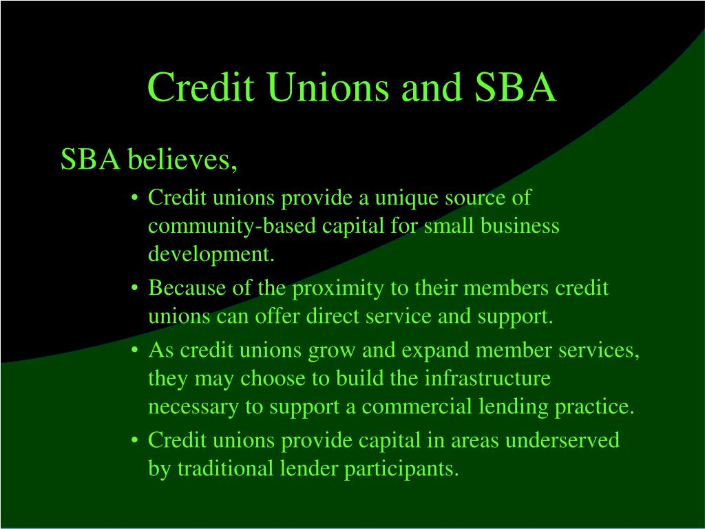 Credit Unions and SBA