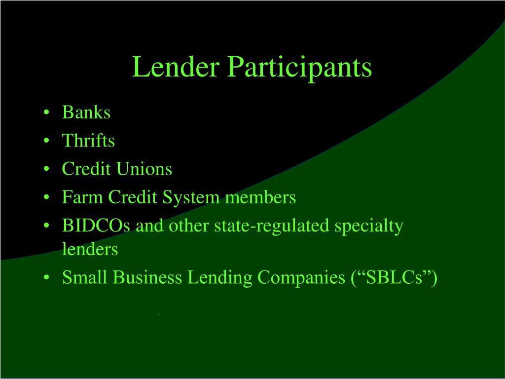 Lender Participants