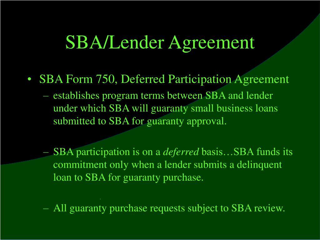 SBA/Lender Agreement