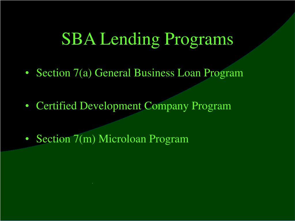 SBA Lending Programs