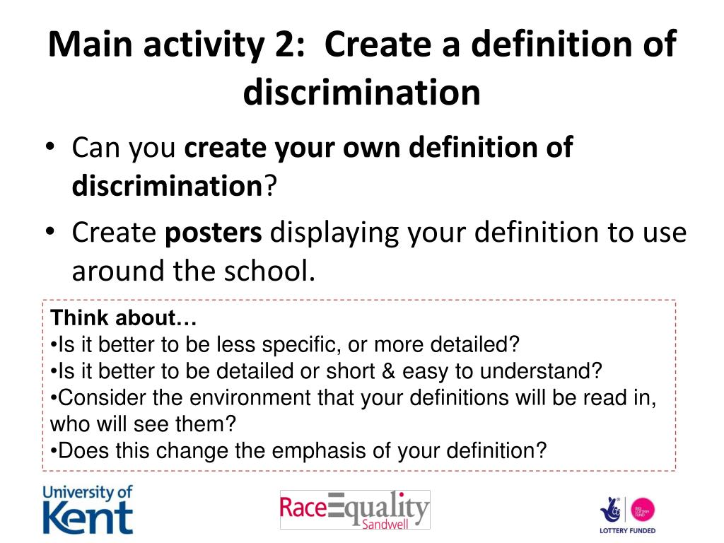 Main activity 2:  Create a definition of discrimination