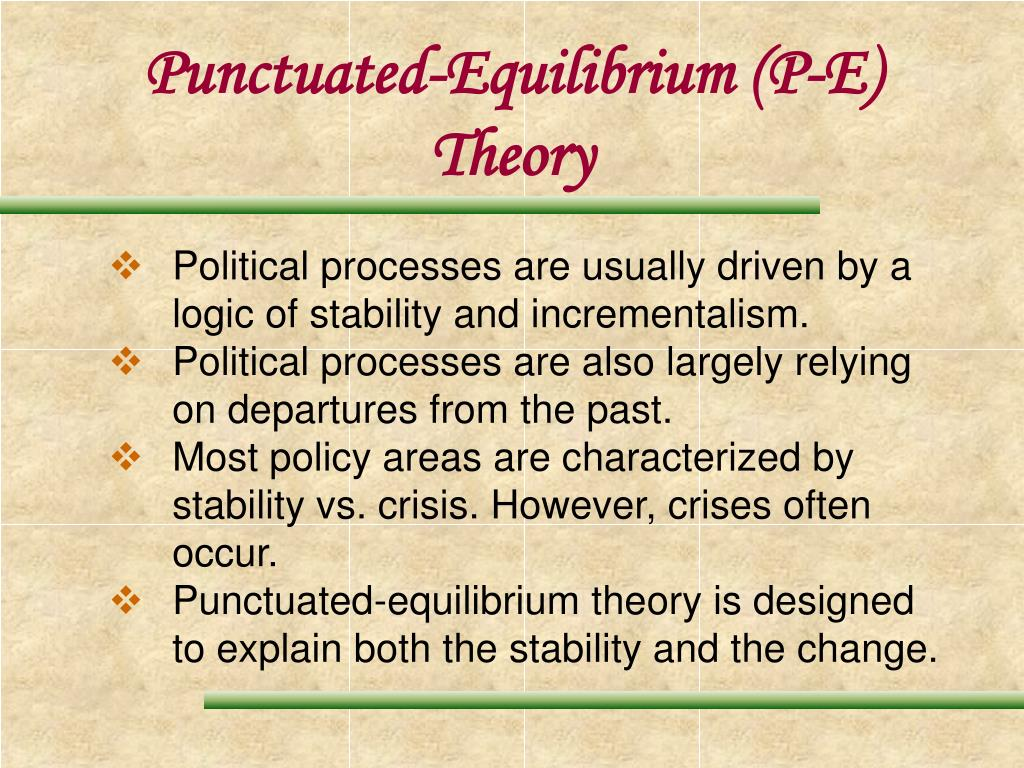 punctuated equilibrium theory Genetic evidence for punctuated equilibrium the theory of punctuated equilibrium-- that evolution usually proceeds slowly but is punctuated by short bursts of.