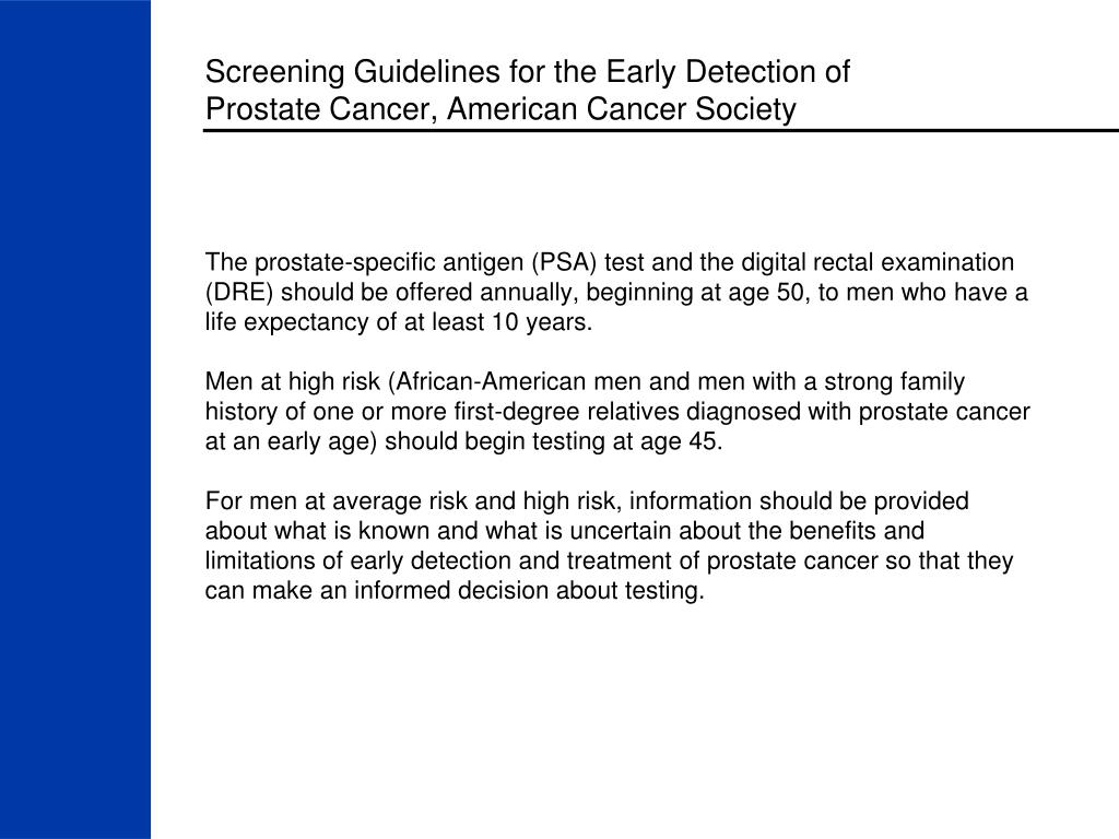 Screening Guidelines for the Early Detection of