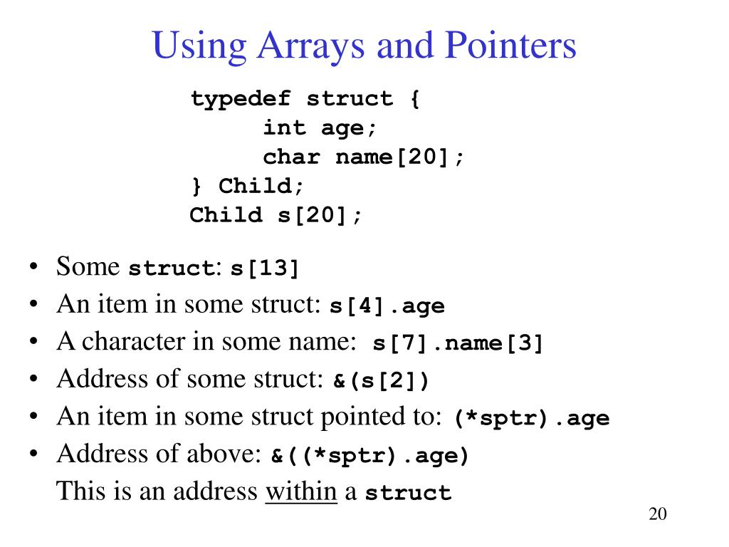 Using Arrays and Pointers
