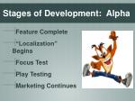 stages of development alpha