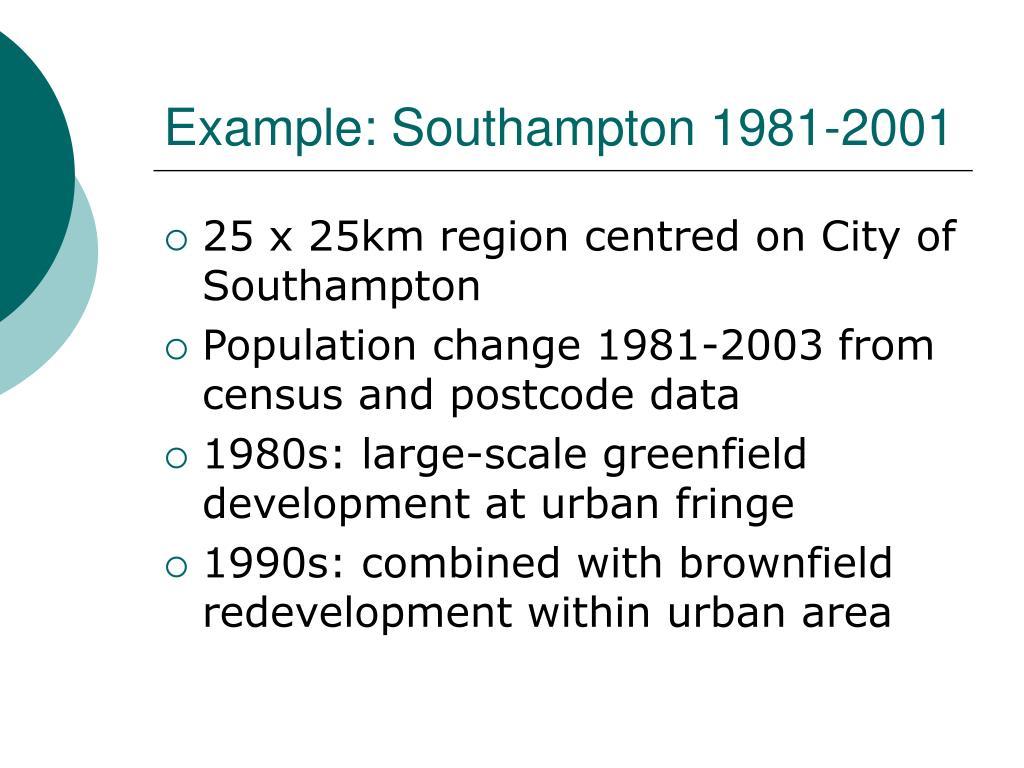 Example: Southampton 1981-2001