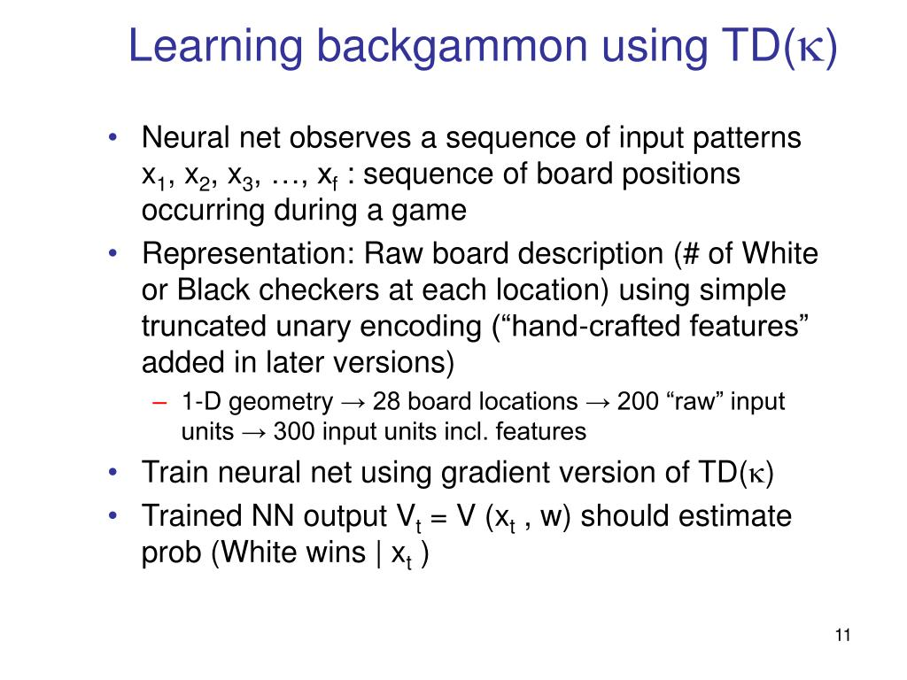 Learning backgammon using TD(