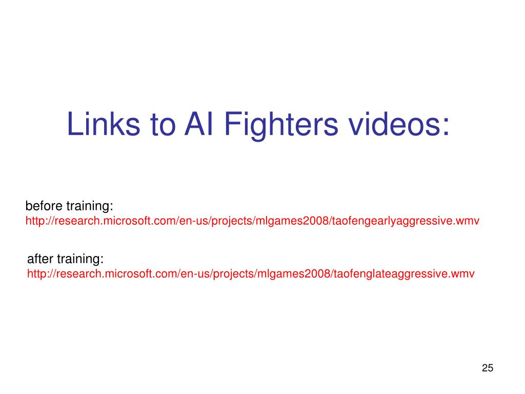 Links to AI Fighters videos: