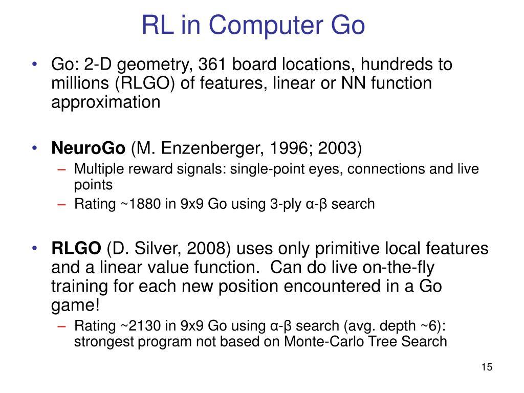 RL in Computer Go