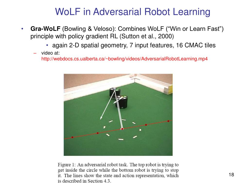 WoLF in Adversarial Robot Learning