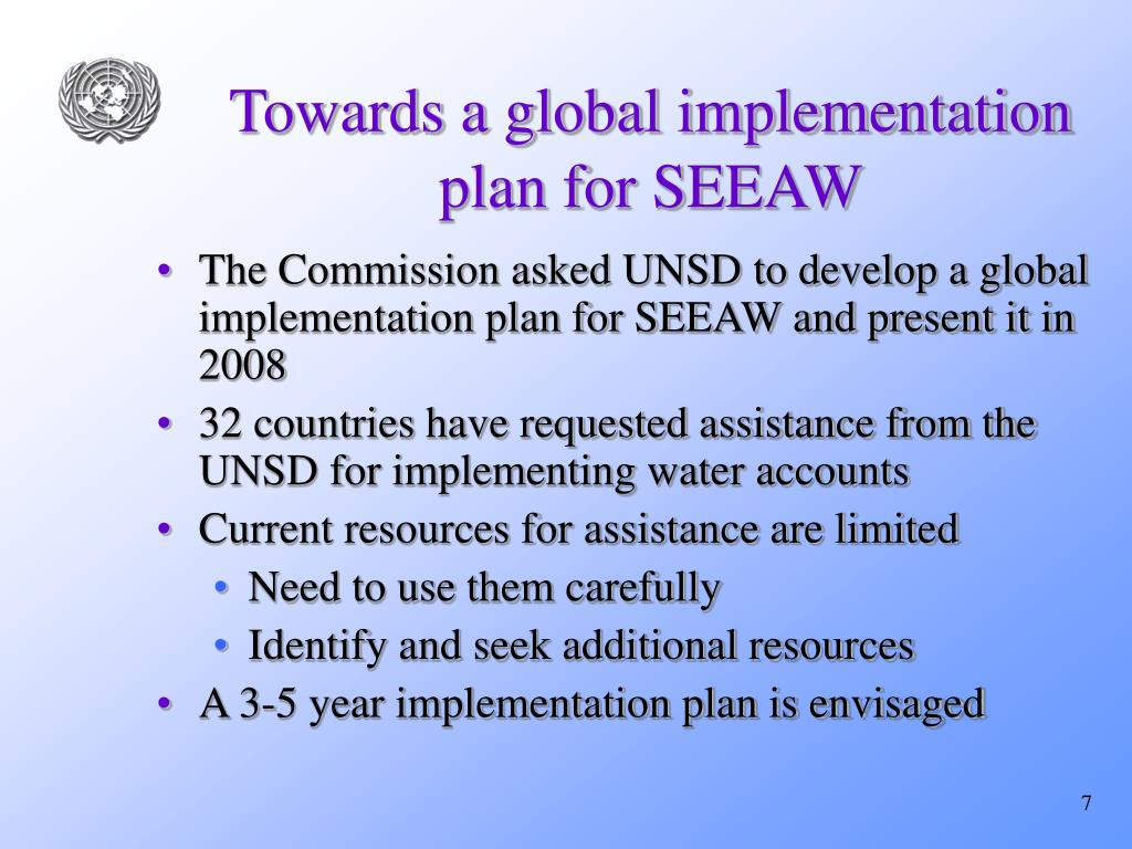 Towards a global implementation plan for SEEAW