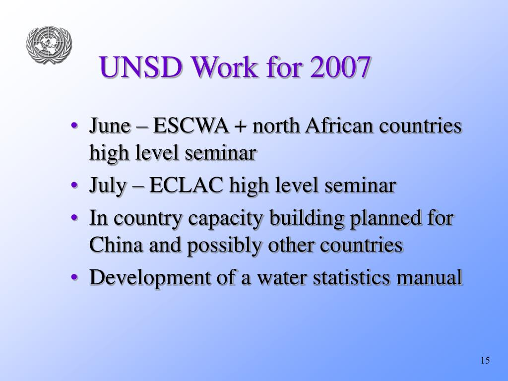 UNSD Work for 2007