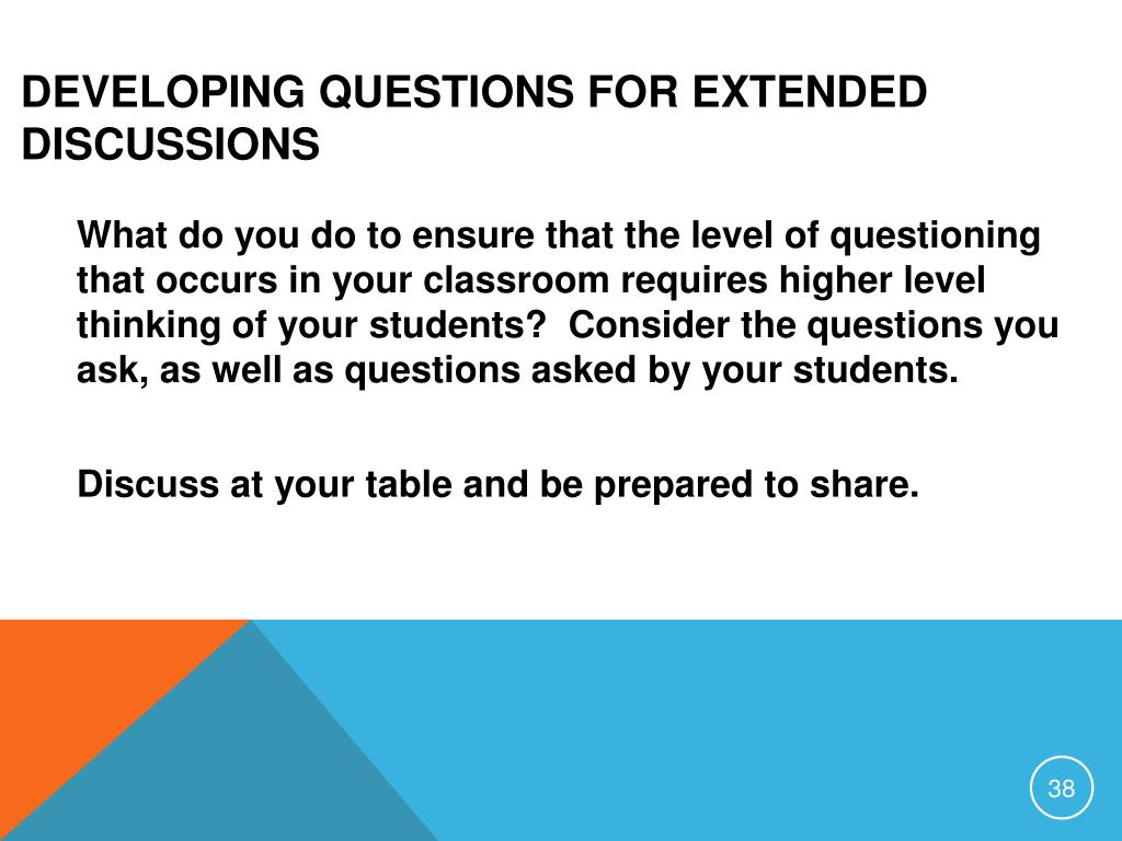 Developing Questions for Extended Discussions