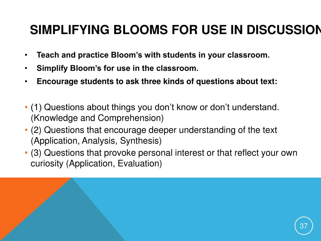 Simplifying Blooms for Use in Discussions