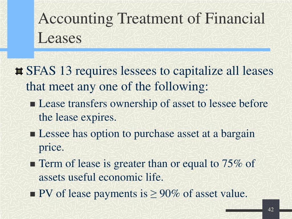 Accounting Treatment of Financial Leases