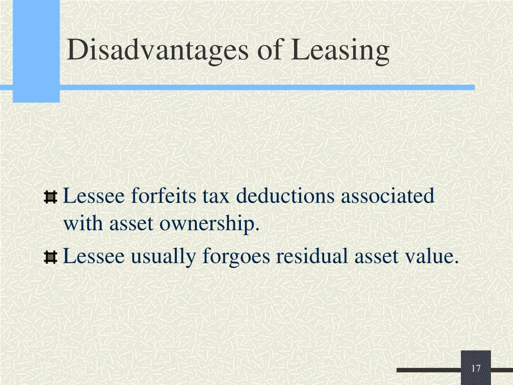 Disadvantages of Leasing