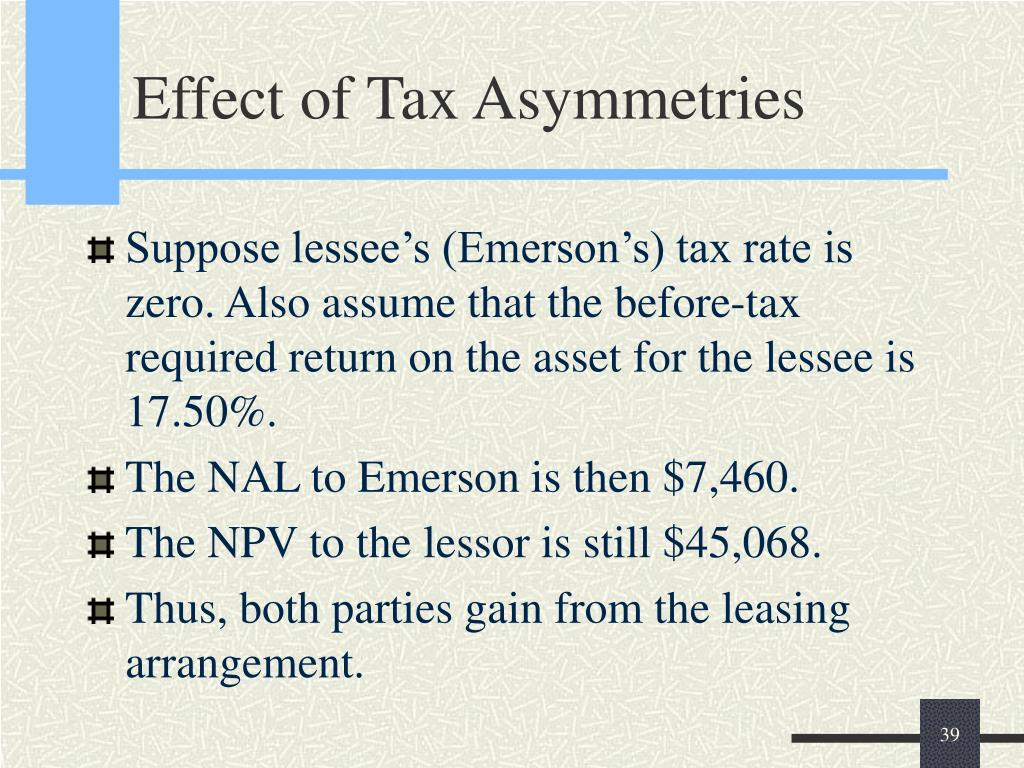 Effect of Tax Asymmetries