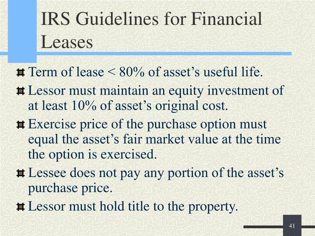 IRS Guidelines for Financial Leases