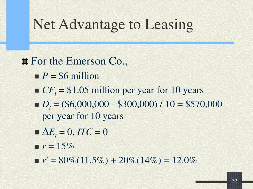 Net Advantage to Leasing