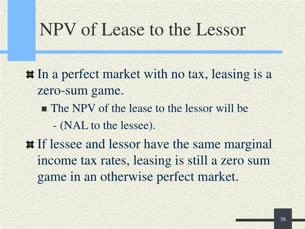 NPV of Lease to the Lessor