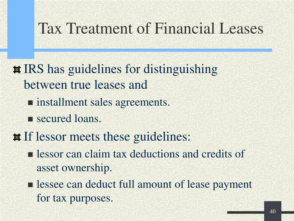 Tax Treatment of Financial Leases