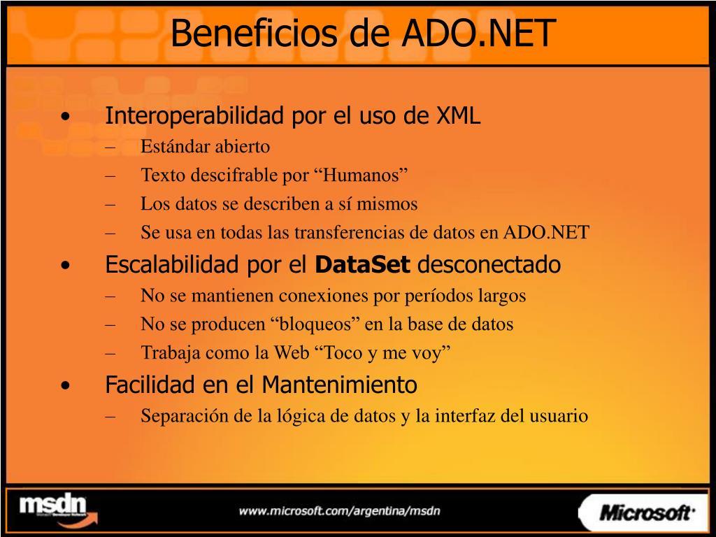 Beneficios de ADO.NET