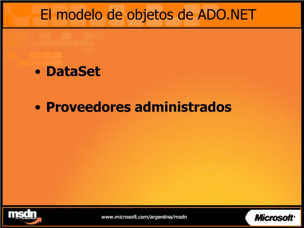 El modelo de objetos de ADO.NET