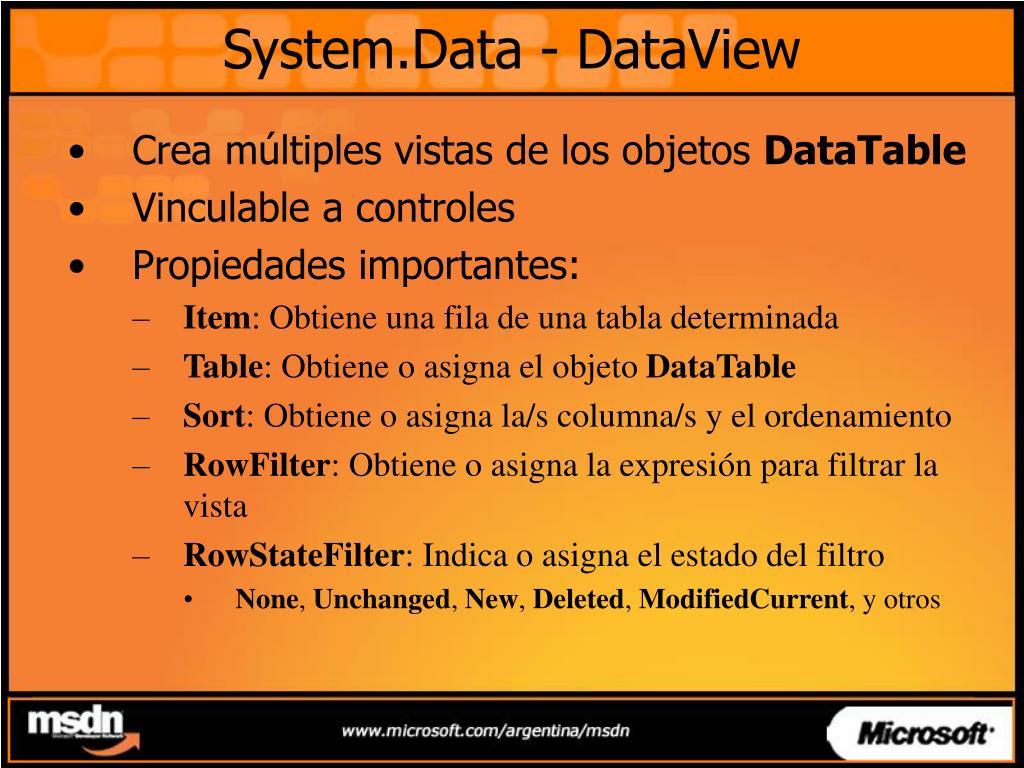 System.Data - DataView