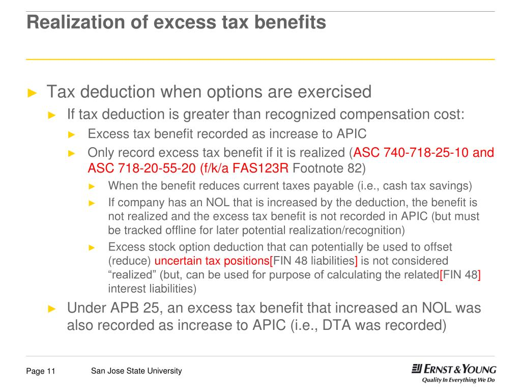 Excess tax benefit from exercise of stock options