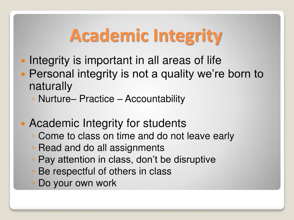 Integrity is important in all areas of life