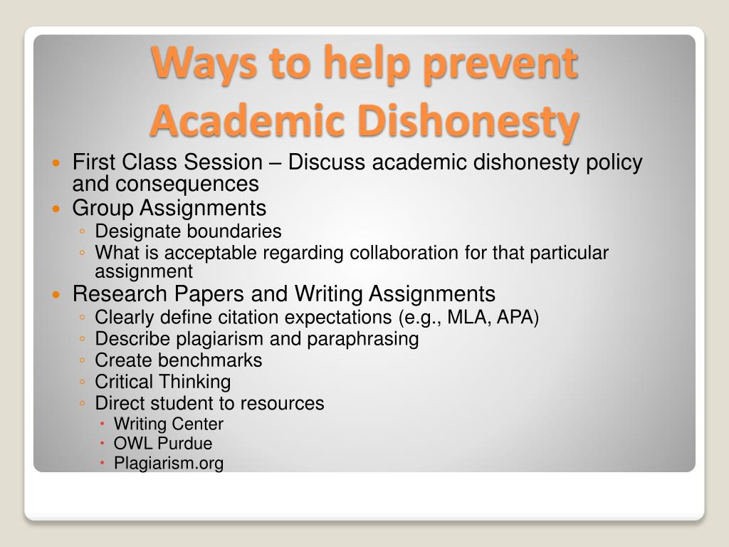 First Class Session – Discuss academic dishonesty policy and