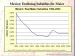 mexico declining subsidies for maize
