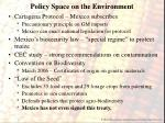 policy space on the environment