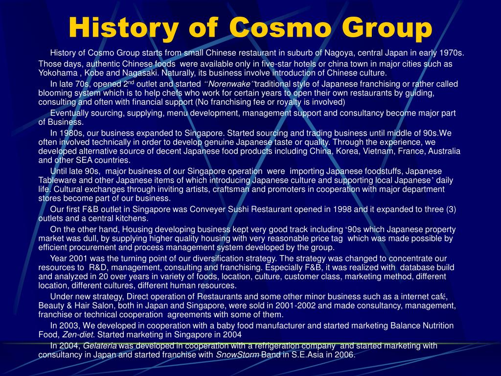 History of Cosmo Group