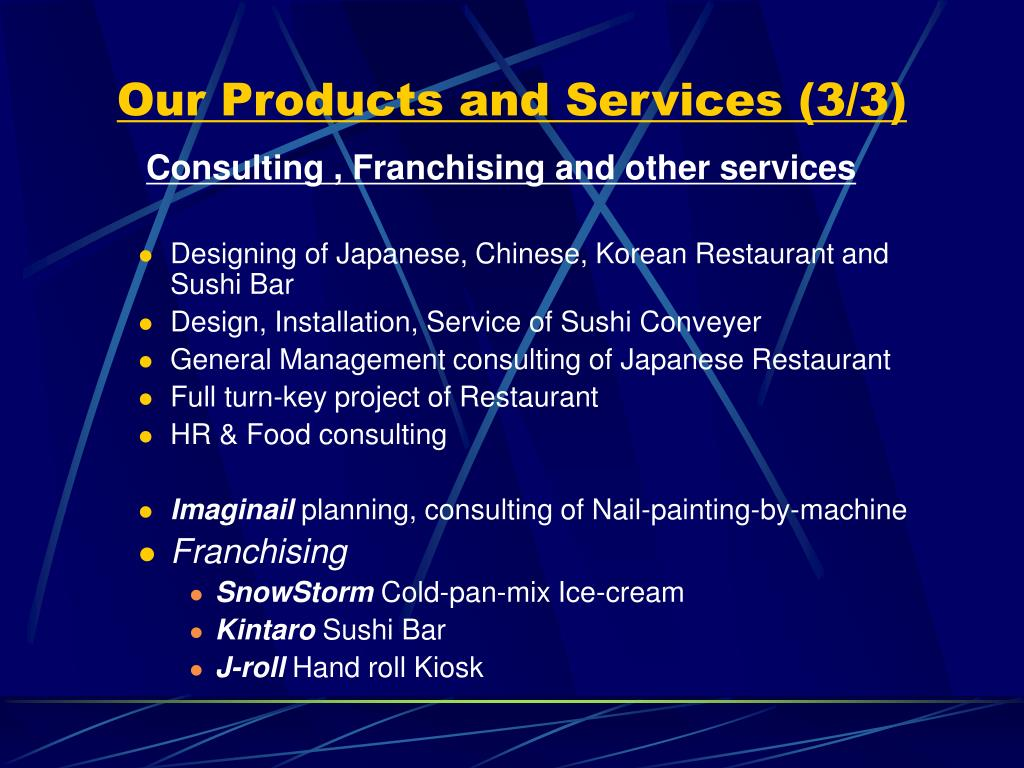 Our Products and Services (3/3)