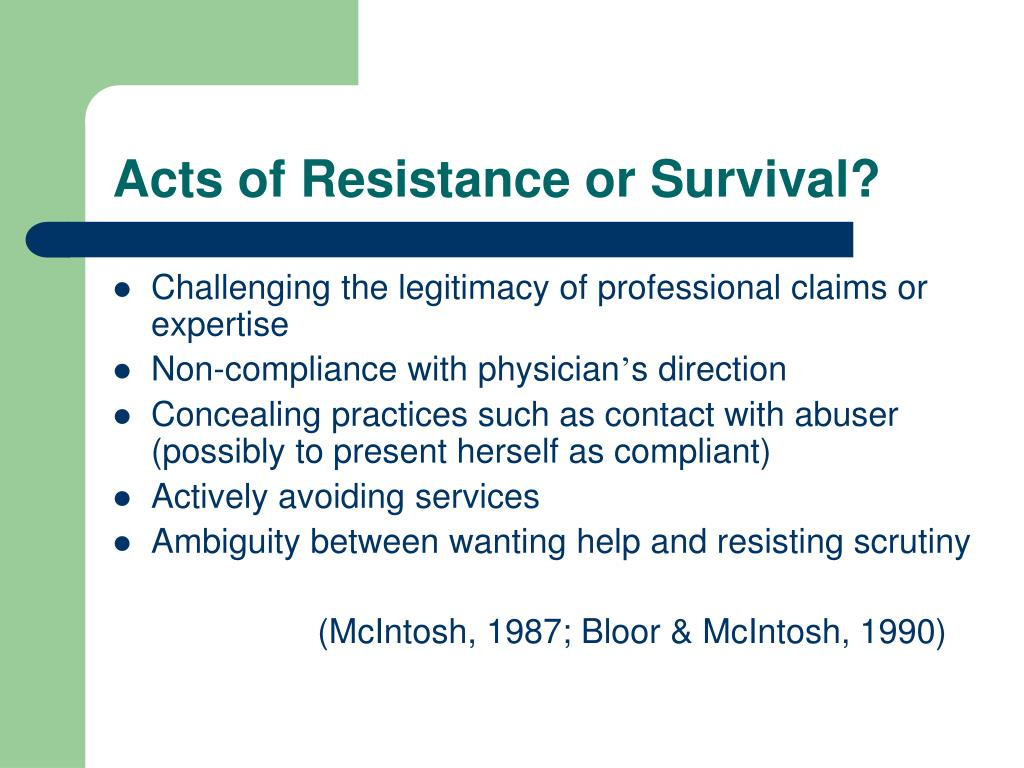 Acts of Resistance or Survival?