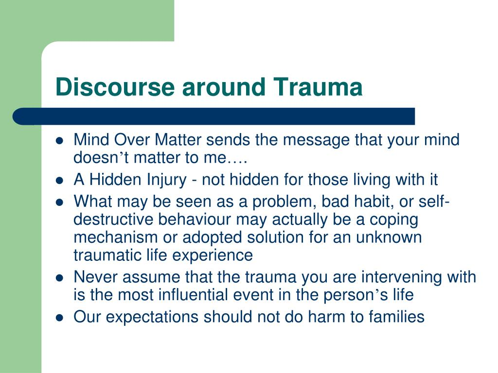 Discourse around Trauma
