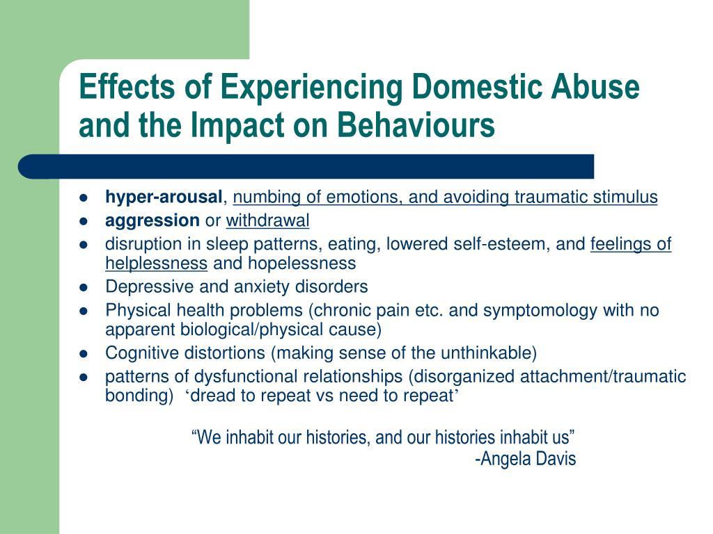 Effects of Experiencing Domestic Abuse and the Impact on Behaviours