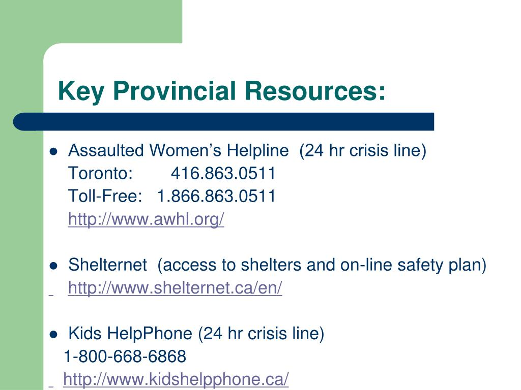 Key Provincial Resources: