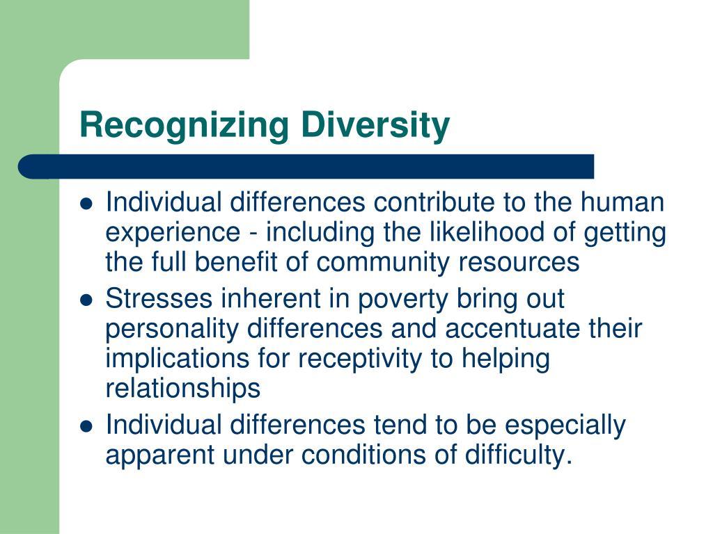 Recognizing Diversity