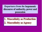 departures from the hegemonic discourse of authority power and possession