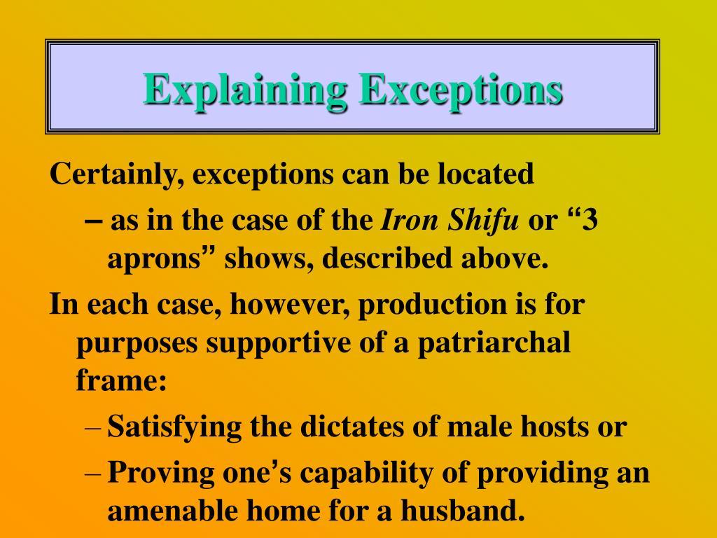 Explaining Exceptions
