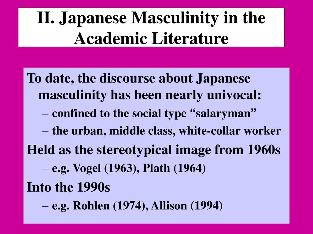 II. Japanese Masculinity in the Academic Literature