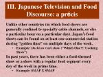 iii japanese television and food discourse a pr cis
