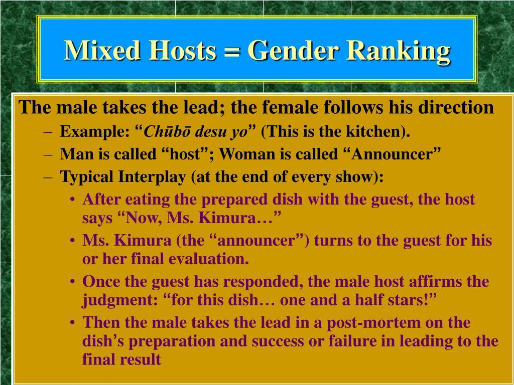 Mixed Hosts = Gender Ranking