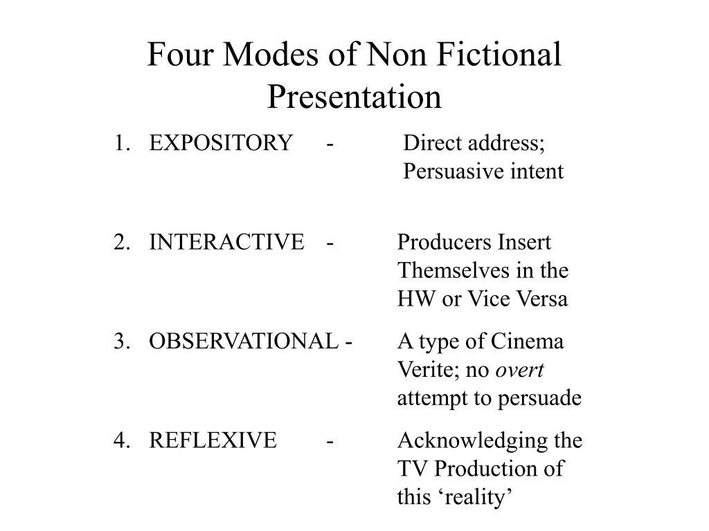 Four Modes of Non Fictional Presentation