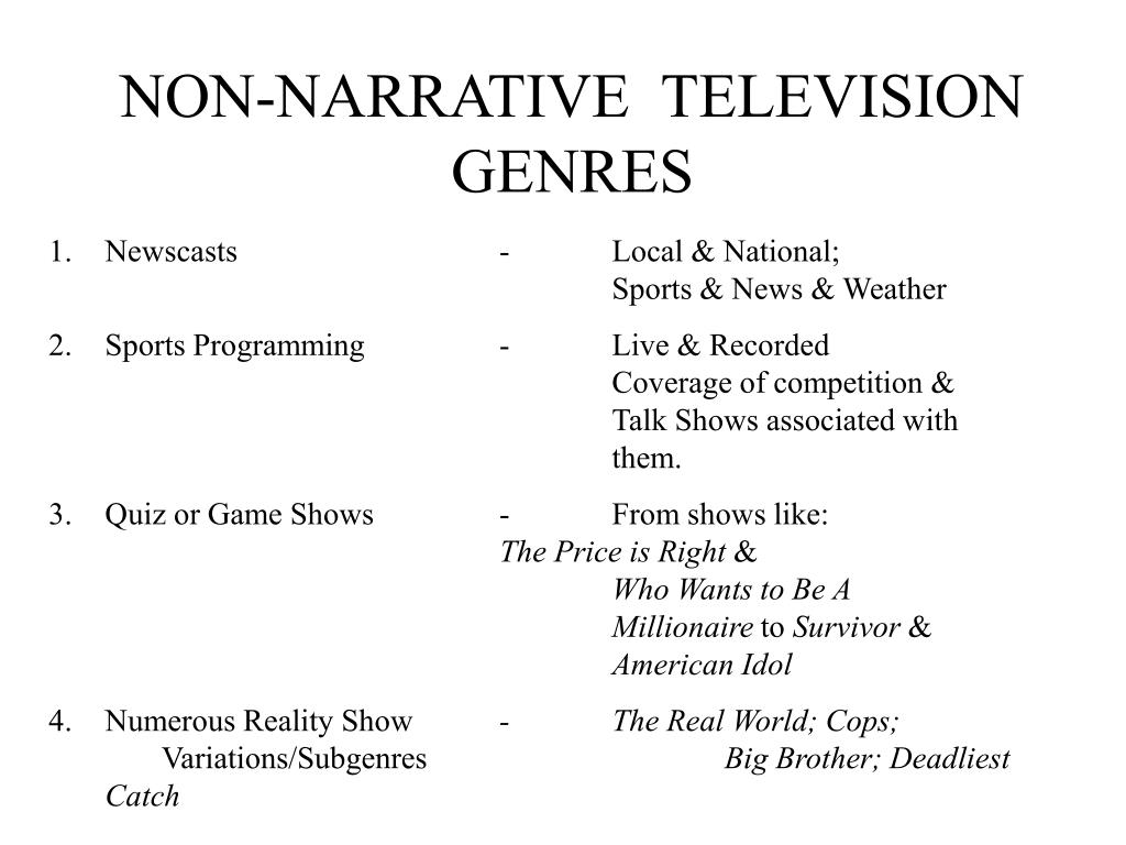 NON-NARRATIVE  TELEVISION  GENRES