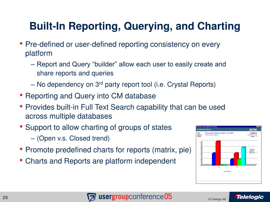Built-In Reporting, Querying, and Charting