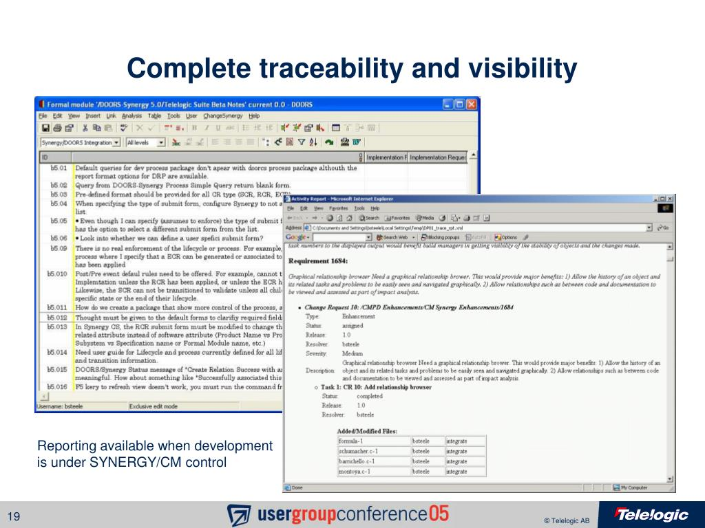 Complete traceability and visibility